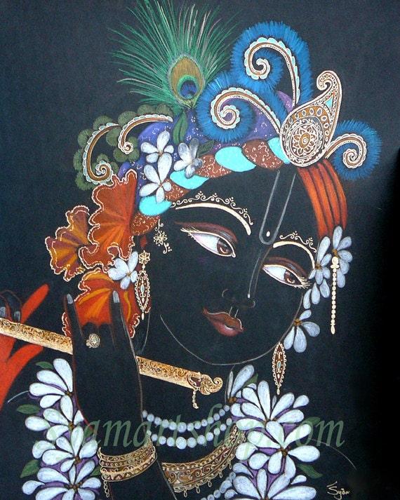 Gopal flute player drawing original art and prints india, Krsna in red gold black vedic art pencil drawing Syamarts