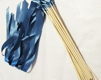Satin Wedding Ribbon Wands - Custom Colors - Pack of 100 - Shown in Smoke Blue - Colorful Send-Off