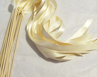 Satin Wedding Ribbon Wands - Custom Colors - Pack of 200 - Shown in Classic Ivory - Wedding Send Off