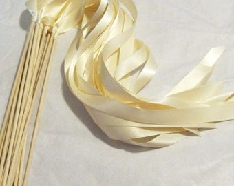 Satin Wedding Ribbon Wands - Custom Colors - Pack of 100 - Shown in Classic Ivory - Wedding Send Off