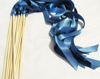 Satin Wedding Ribbon Wands - Custom Colors - Pack of 50 - Shown in Smoke Blue - Instead of Rice