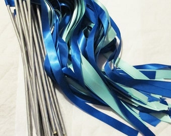 Enchanted Wedding Ribbon Wands 50 Pack IN YOUR COLORS (shown in Royal Blue and Aqua) Unique wedding ceremony exit idea