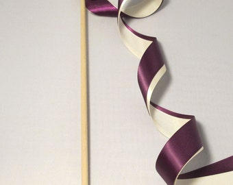 Tie the Knot - Satin Wedding Ribbon Wands - Custom Colors - Pack of 50 - Shown in Plum Purple and Ivory