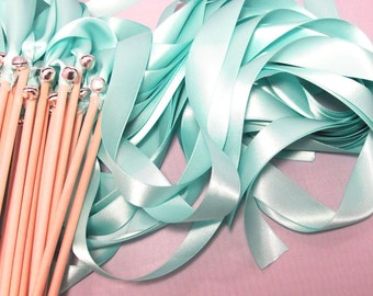 50 Magical Wedding Ribbon Wands in YOUR COLORS with BELLS (shown in aqua and silver bells) Colorful wedding ceremony exit idea