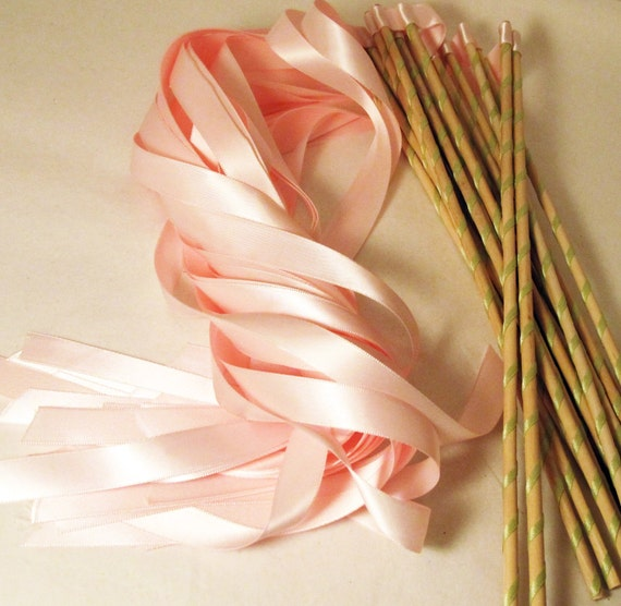 Enchanted Wedding Ribbon Wands 50 Pack IN YOUR COLORS (shown in light pink and mint green)