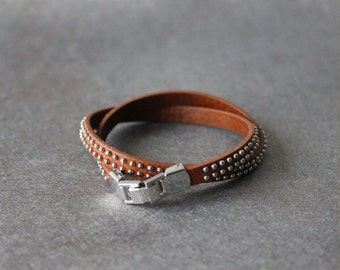 Mini Ball Studded Leather Bracelet(CALF)