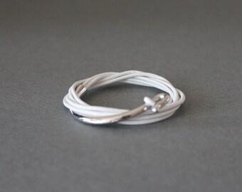 Leather Wrap Bracelet Rhodium Silver Plated Brass Hook(Milk White)