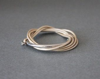 Leather Wrap Bracelet Rhodium Silver Plated Brass Hook (Pearl Beige)