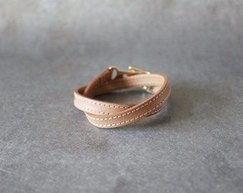 Double Wrap Belt Buckle Ornament Leather Bracelet(Tan)
