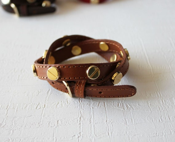 Screw Stud Ornament Leather Bracelet(Calf Brown)