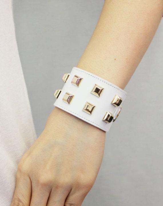 Square Stud Ornament Soft Leather Bracelet(White)
