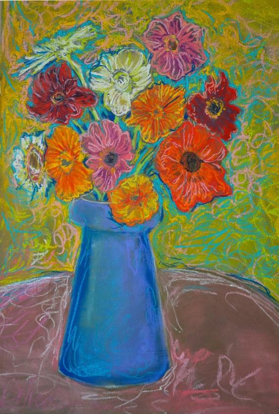 Original Pastel Art, Zinnia Painting, Soft Pastel Art, Original Painting, Fine Art, Flower Art, Flower Still Life, Wall art
