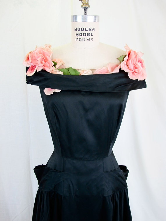 On Hold....1930's Black and Rose Evening Dress Couture Ballgown