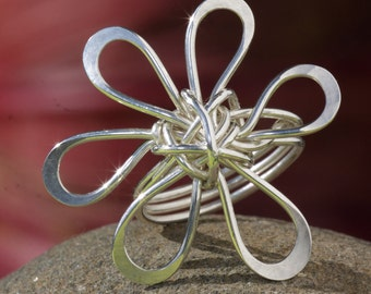 Hand Crafted Silver Plumeria Ring