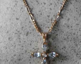 Blue Aquamarine Gold Overlay Sterling Cross, With Princess Diamond Centerpiece