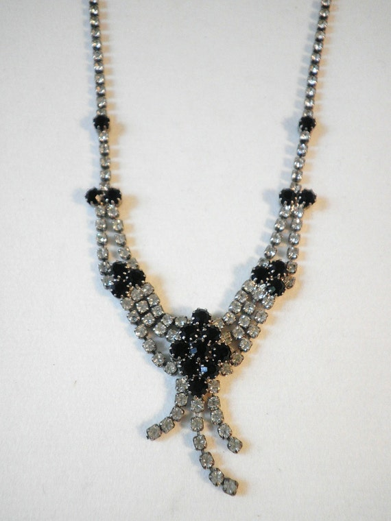 Victorian Look Onyx and Crystal Necklace