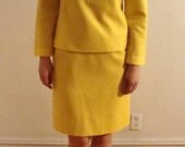 SALE Bright Bold Yellow Mod 1960s Two Piece Wool Suit Dress