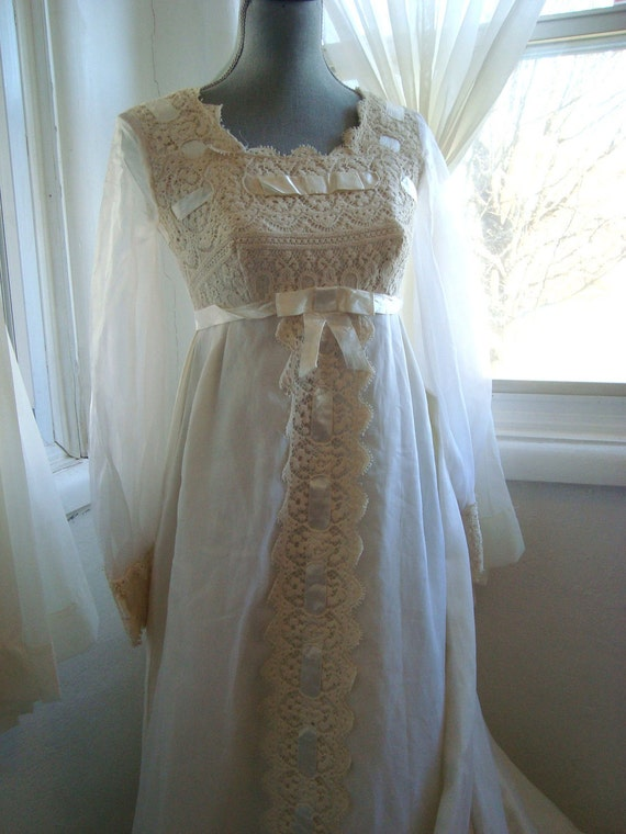 Romantic 1960's Empire Waist Lace and Chiffon Wedding Gown With Chapel Train, Size Small