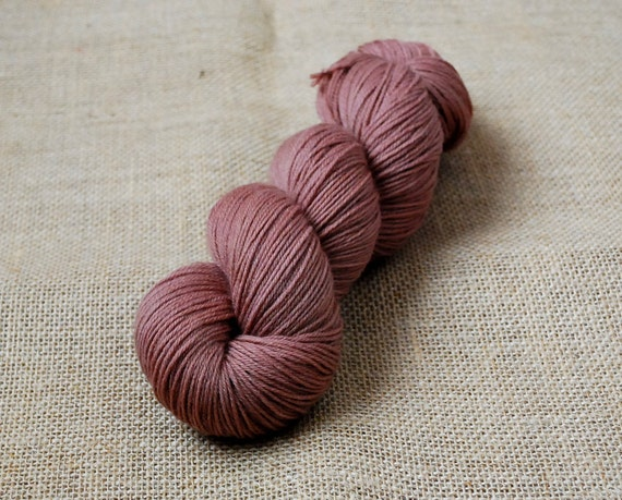 Hand Dyed Sock Yarn Superwash Merino Cashmere Nylon 80/10/10  Naturally Dyed in Rosewood