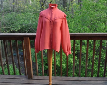 Vintage 1960s Orange Blouse, Fringed Shirt, Size 14, Hippie Boho Country Western Top, Cowgirl Costume