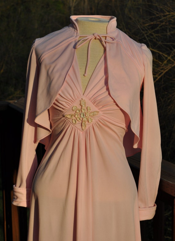 Vintage Pink maxi dress, 1980s Pretty in Pink, 1970s  Gown with Jacket, Retro Prom or Bridesmaid Formal
