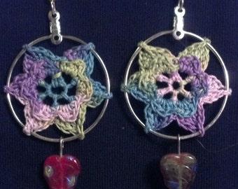 Spring Flower Crochet blue-green-purple Earrings