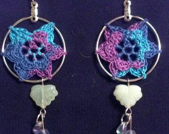 Daydream Peace Flower Crochet blue-turquoise-purple Earrings