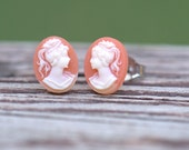 Cameo Stud Earring SALE Hypoallergenic Post, French Victorian shabby chic, Apricot Peach Coral Tangerine fall autumn Thanksgiving pumpkin