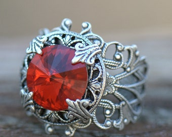 Red RING Silver filigree band. Vintage style Womens Ring Size 4 4.5 5 5.5 6 6.5 7 7.5 8 8.5 9 9.5 10 10.5 11 11.5 12 12.5 13 Siam Swarovski