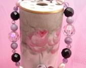 "Lamp Bracelet ""Midnight in a Paris Garden"" Purple Smooth Amethyst Lavender Jade Black Onyx Gems Flowers Moretti Glass Sterling Silver OOAK"