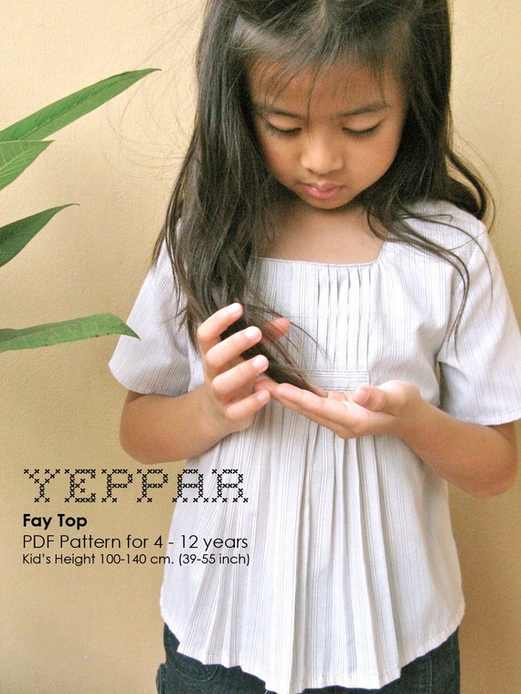 PDF Pattern - Fay Top for 4 - 10 years old and tutorial.