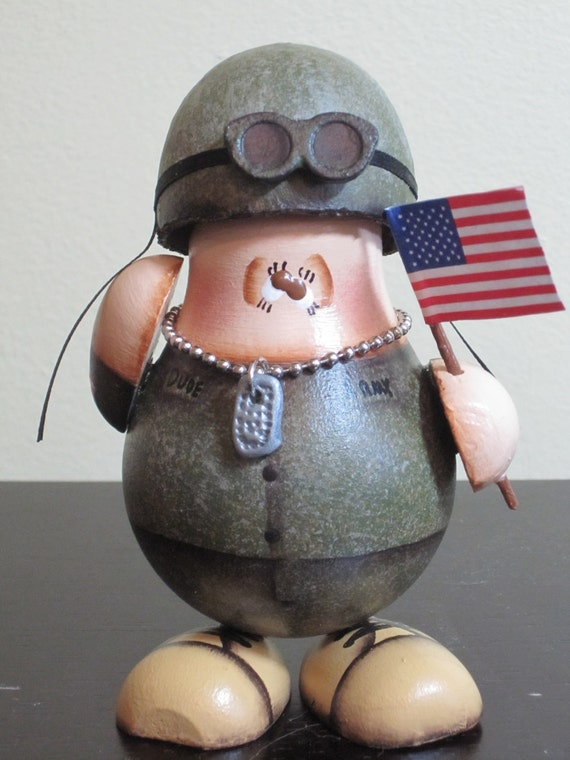 Military Ornament Collectible Repurposed Light Bulb US Army