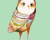 The Colorful Owl Nursery Decoration, Baby Room Decor, Nursery Art Print