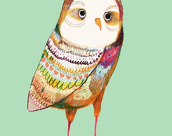 The Colorful Owl Nursery Decoration, Baby Room Decor, Nursery Art Print