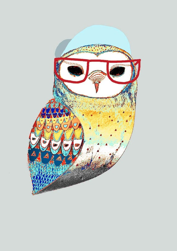 Hipster Art. The Hipster Owl. Limited edition art print by Ashley Percival. Print.