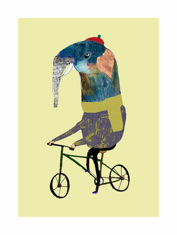 Elephant on Bike. Limited edition art print by Ashley Percival. Unique Wall Decor.