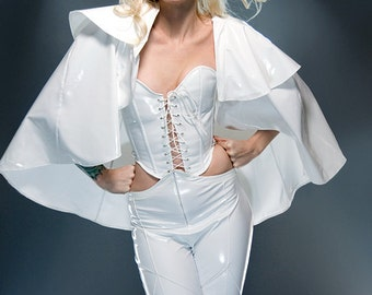 "M Emma Frost Corset - White PVC Overbust w/ Lace up front 25"" for a 27-30"" waist (CLEARANCE)"