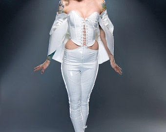 "PVC Emma Frost Overbust Corset - Lace up front 25"" for a 27-30"" waist"