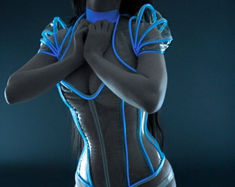 CLEARANCE- XS/S Blue Glowing cyber collar (stained sample ready to ship)
