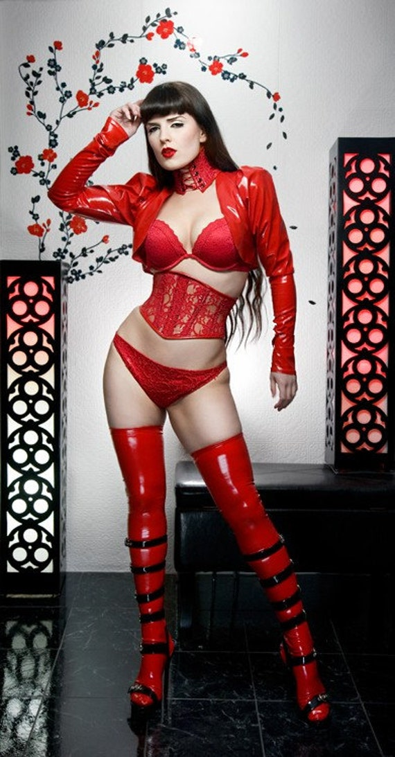 HALF PRICE Red pvc stockings with stay up silicone tops Artifice Clothing in size XS (photoshoot sample)