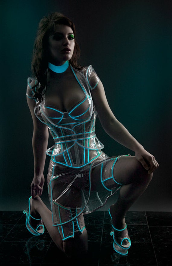 CLEARANCE Glowing cyber collar (Artifice Tron sample ready to ship) white in regular light, glows pale green in the dark
