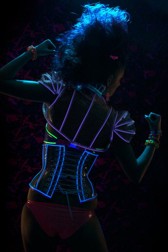Clear PVC with lilac glowing trim shrug from Artifice XS/S (photoshoot sample, ready to ship)