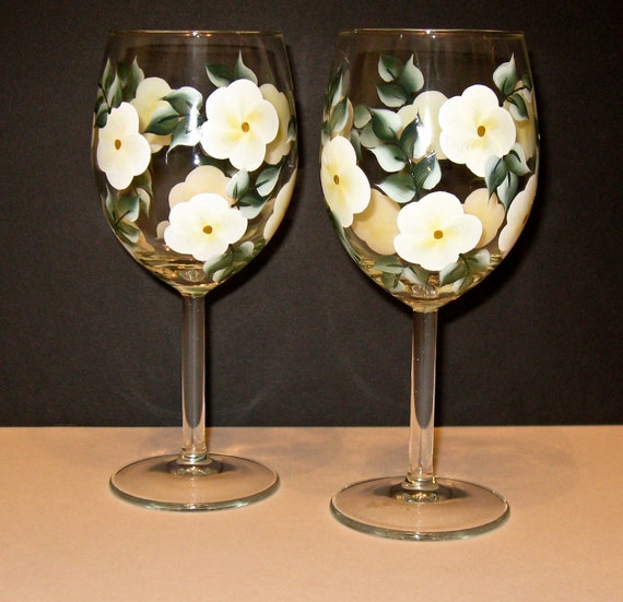 Hand Painted Wine Glasses, White Floral