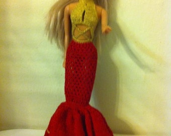 Red and Gold Barbie Doll Clothes - Evening Dress