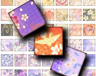 Japanese Design Orange Purple (1) Digital Collage Sheet - Square 1 inch or smaller and scrabble available - Buy 3 Get 1 Extra Free