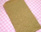 20 Small Kraft Paper Bags Embossed Spring Flowers 3 1/2 x 5 1/4 inches