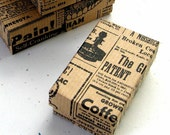 10 Vintage Newspaper Kraft Jewelry Boxes Cotton Filled 2 1/2 x 1 1/2 x 1 inch