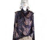 80s slate gray beige marble wide shoulder slouch blouse grunge new wave alternative sexy  s-m