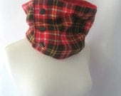 Plaid Snowboarding Scarf Unisex Skiing Cowl - Red Plaid Cowl Lined Cashmere : Upcycled Recycled Repurposed Spring Fashion Fall Fashion