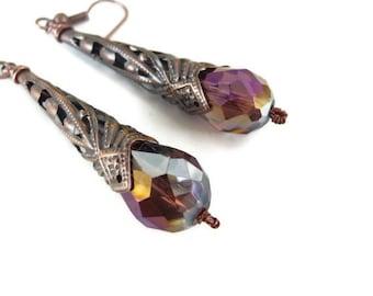 Copper crystal earrings, teardrop, cone, oxidized, burgundy, filigree, outlet, clearance, burgundy, swarovski,